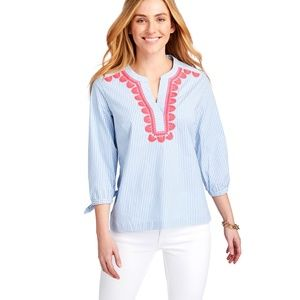 Striped Embroidered Savannah Popover Top